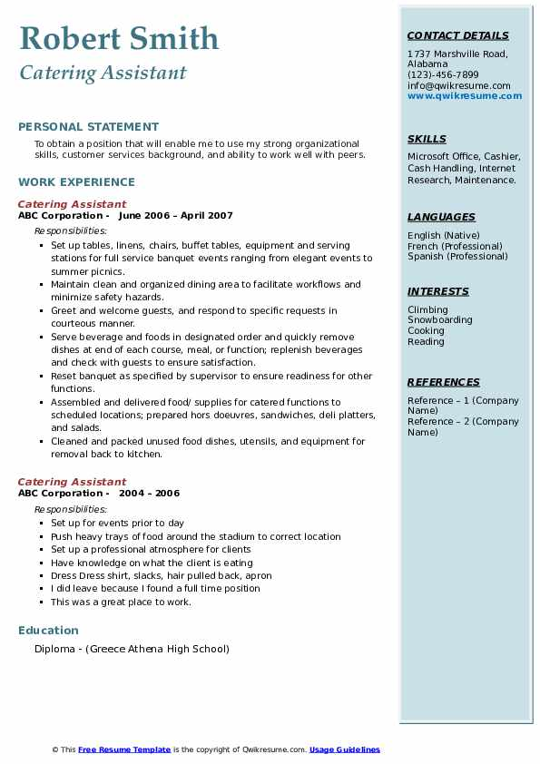 Catering Assistant Resume example