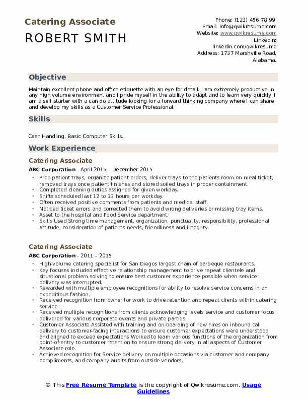 Catering Associate Resume Example