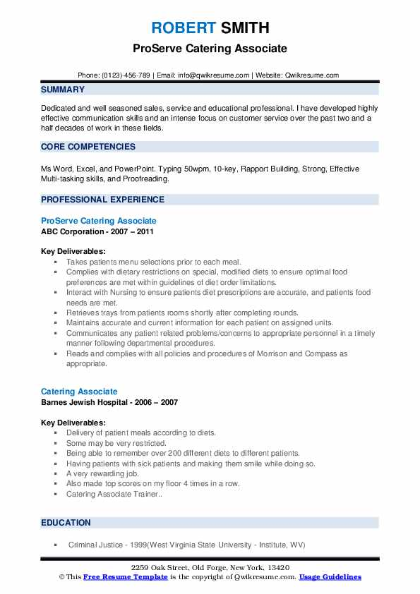 ProServe Catering Associate Resume Format