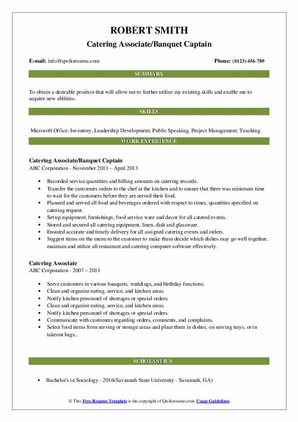 Catering Associate/Banquet Captain Resume Example