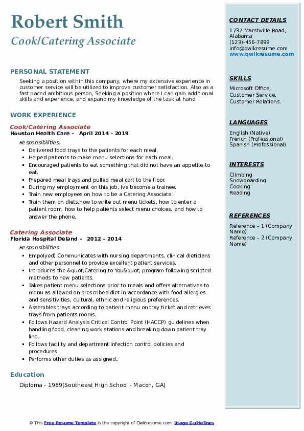 Cook/Catering Associate Resume Model