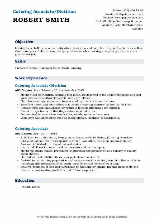 Catering Associate/Dietitian Resume Sample