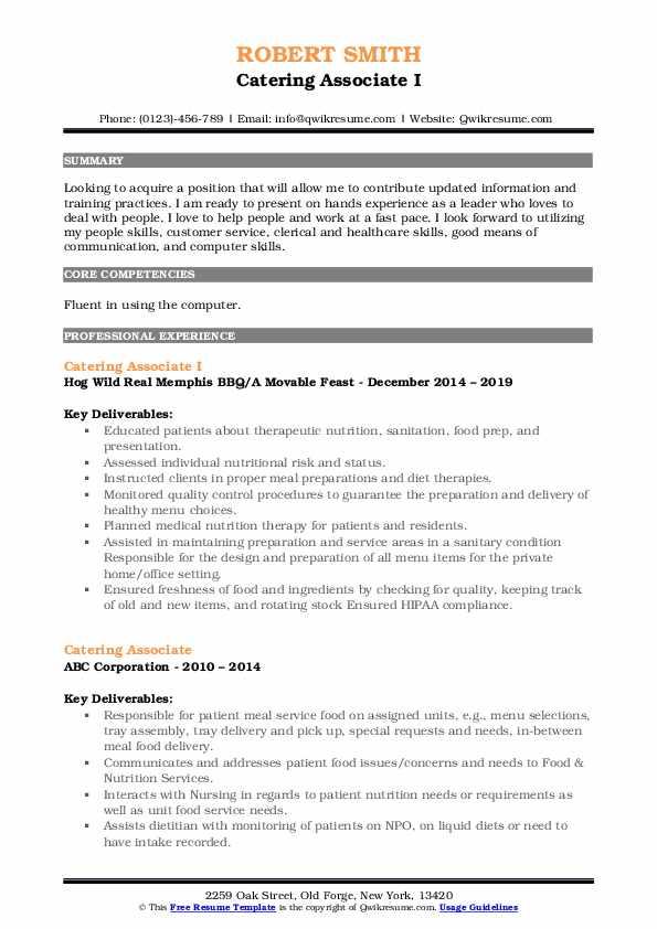 Catering Associate I Resume Format