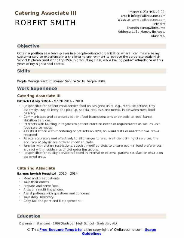 Catering Associate III Resume Sample