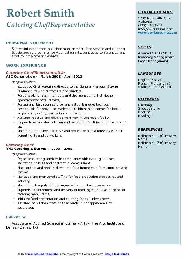 catering chef resume samples  qwikresume