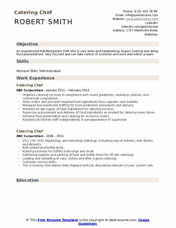 Catering Chef Resume example