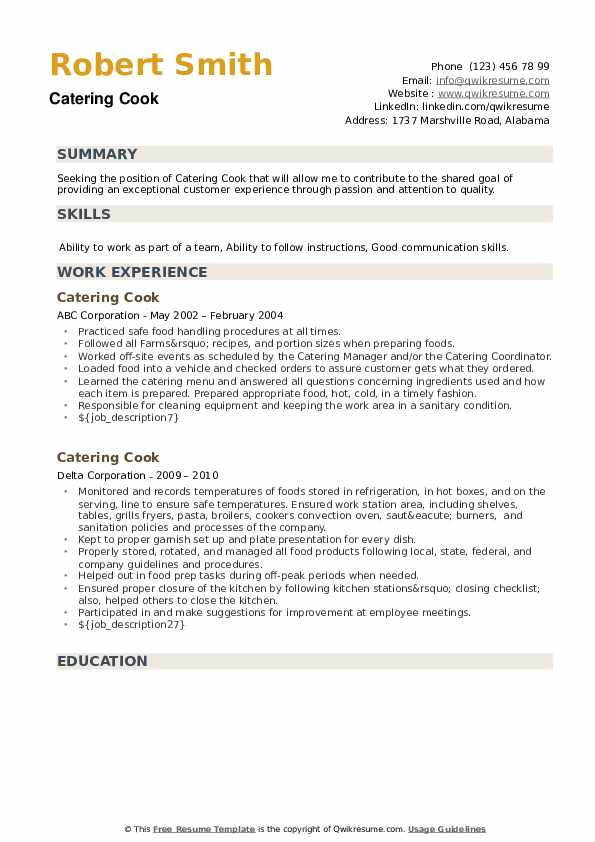 Catering Cook Resume example