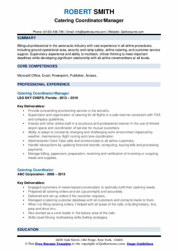 Catering Coordinator/Manager Resume Format