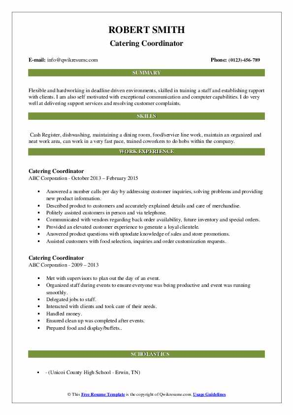 Catering Coordinator Resume Sample