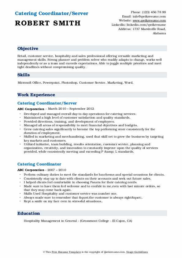 Catering Coordinator/Server Resume Template
