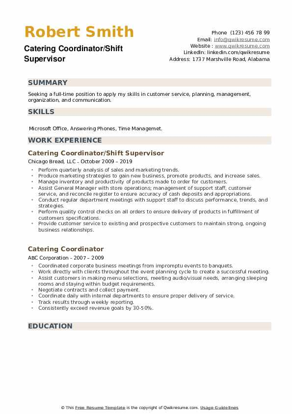 Catering Coordinator/Shift Supervisor Resume Template
