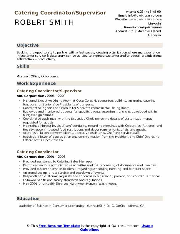 Catering coordinator resume examples best personal essay ghostwriting websites au