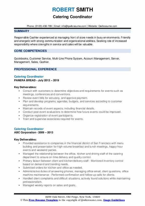 Catering Coordinator Resume example