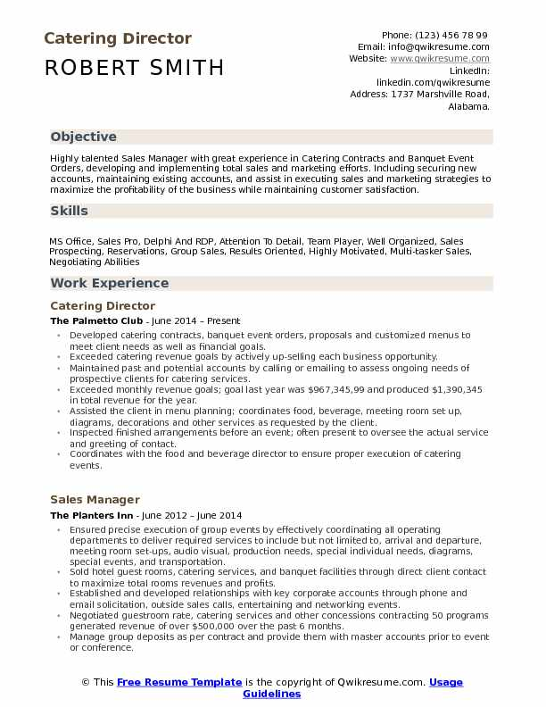 Catering Director Resume Samples | QwikResume