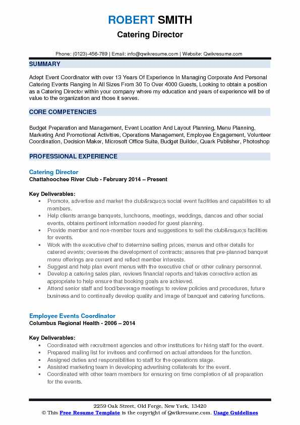 Catering Director Resume Format