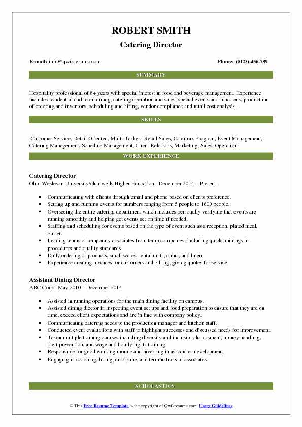 Catering Director Resume Example