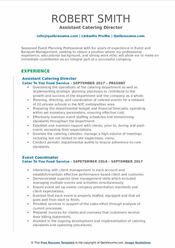 Assistant Catering Director Resume Template