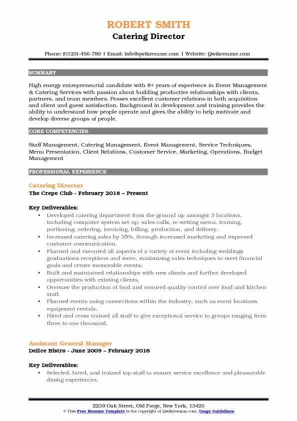 Catering Director Resume Sample