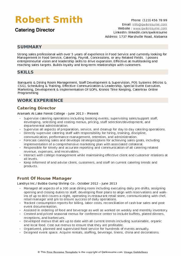 Catering Director Resume Samples Qwikresume
