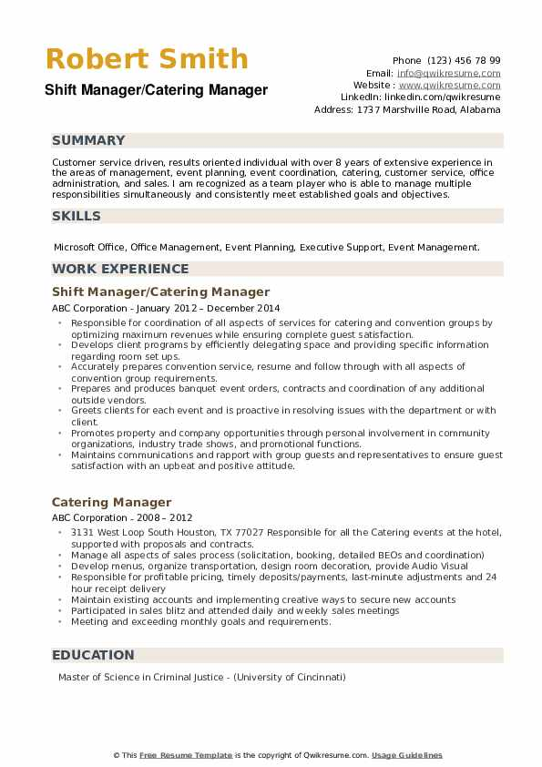 Catering Manager Resume Samples Qwikresume