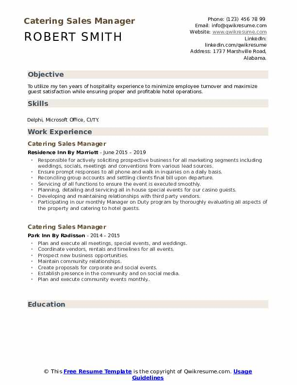 Catering Sales Manager Resume Samples | QwikResume