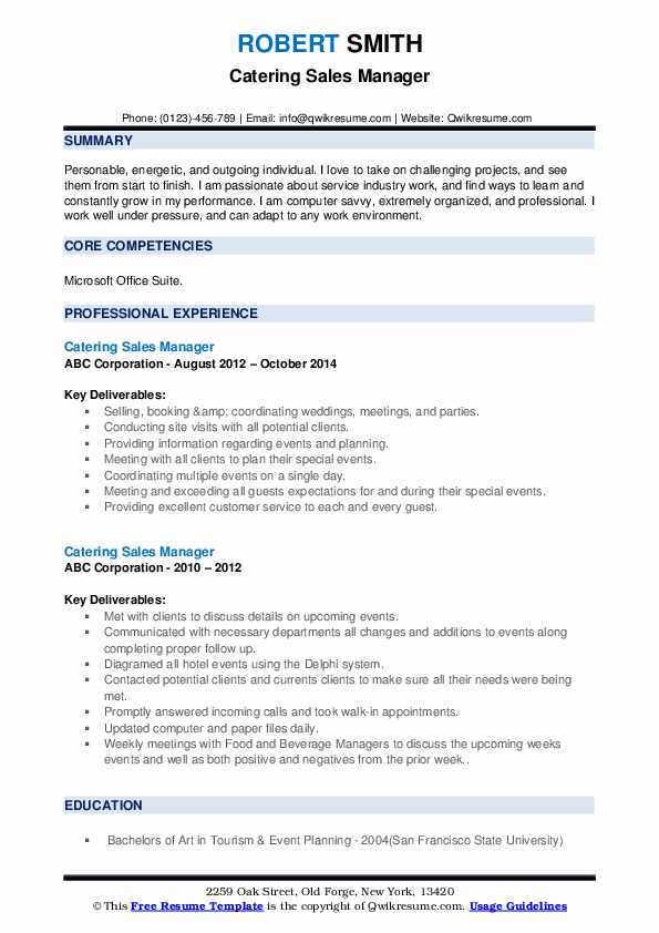 Catering Sales Manager Resume example