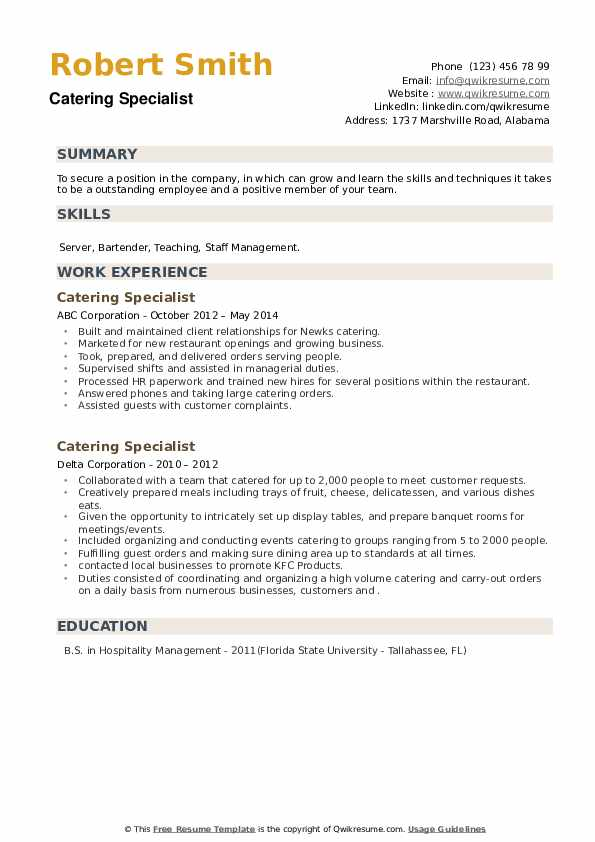 Catering Specialist Resume example