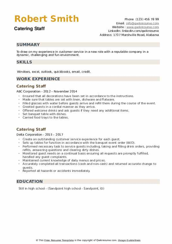 Catering Staff Resume example
