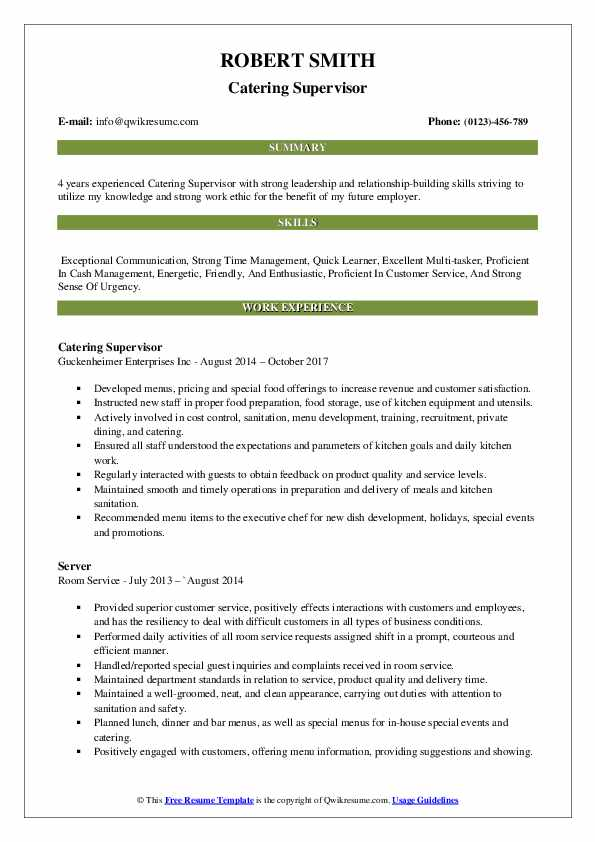 Catering Supervisor Resume Format