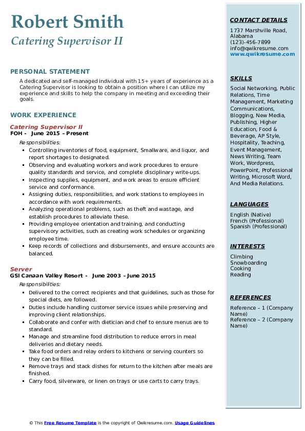 Catering Supervisor II Resume Example