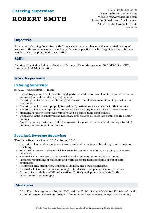 Catering Supervisor Resume Sample