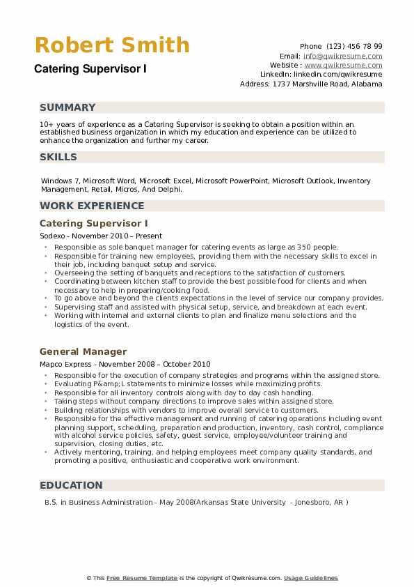 Catering Supervisor Resume example