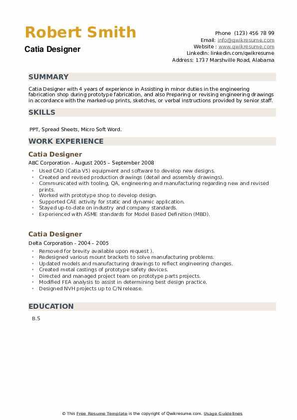 Catia Designer Resume example