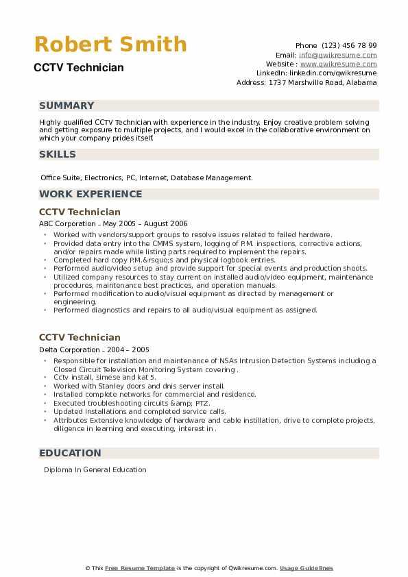 CCTV Technician Resume example