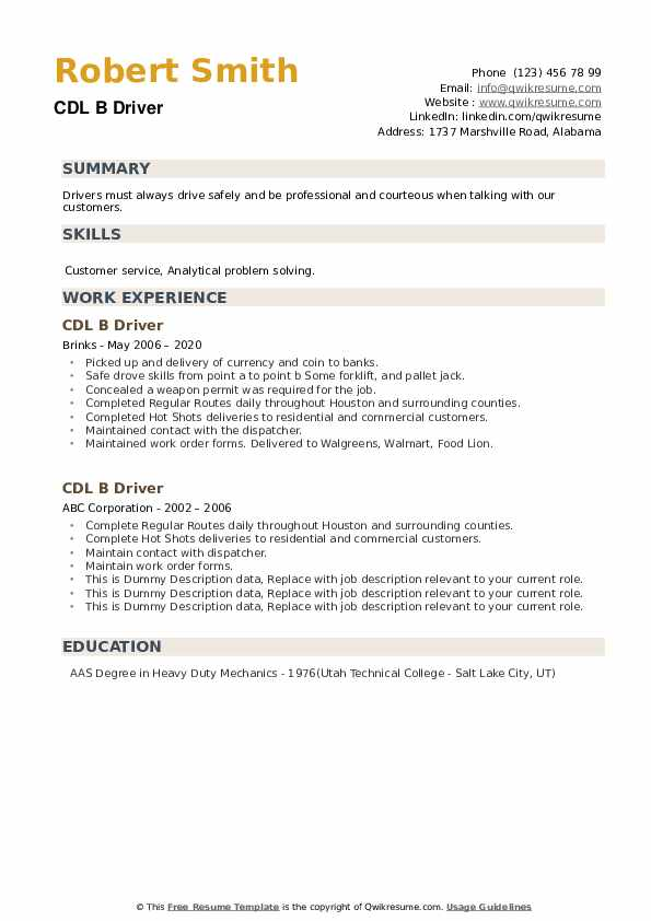 CDL B Driver Resume example