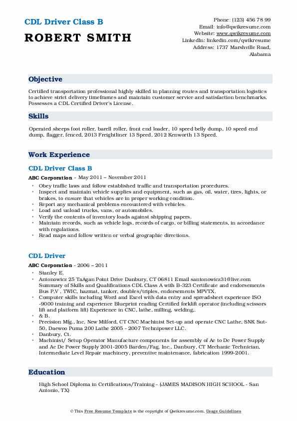 Associate Driver Supervisor Resume Sample