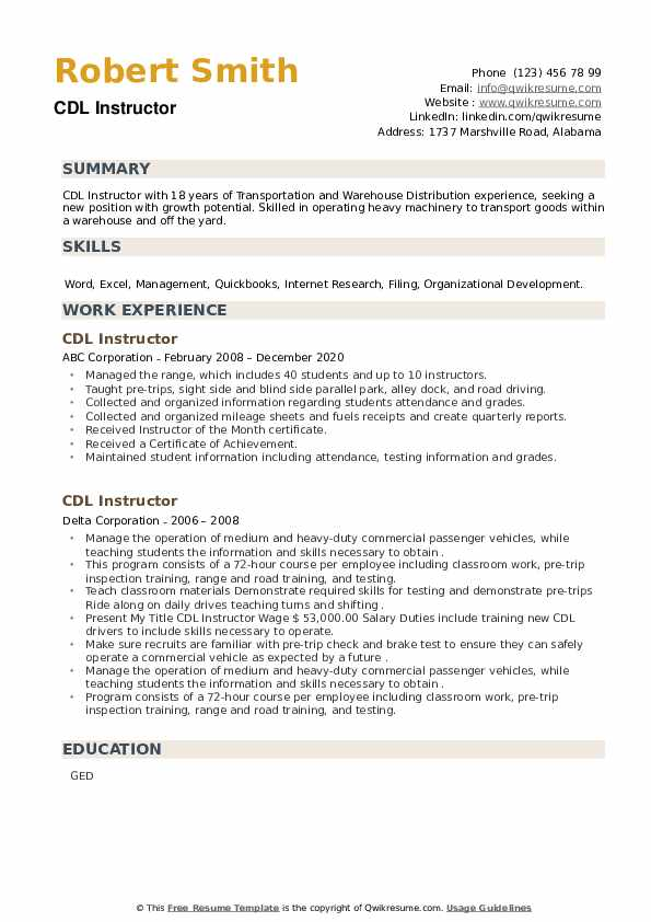 CDL Instructor Resume example