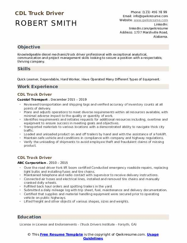 cdl truck driver resume samples