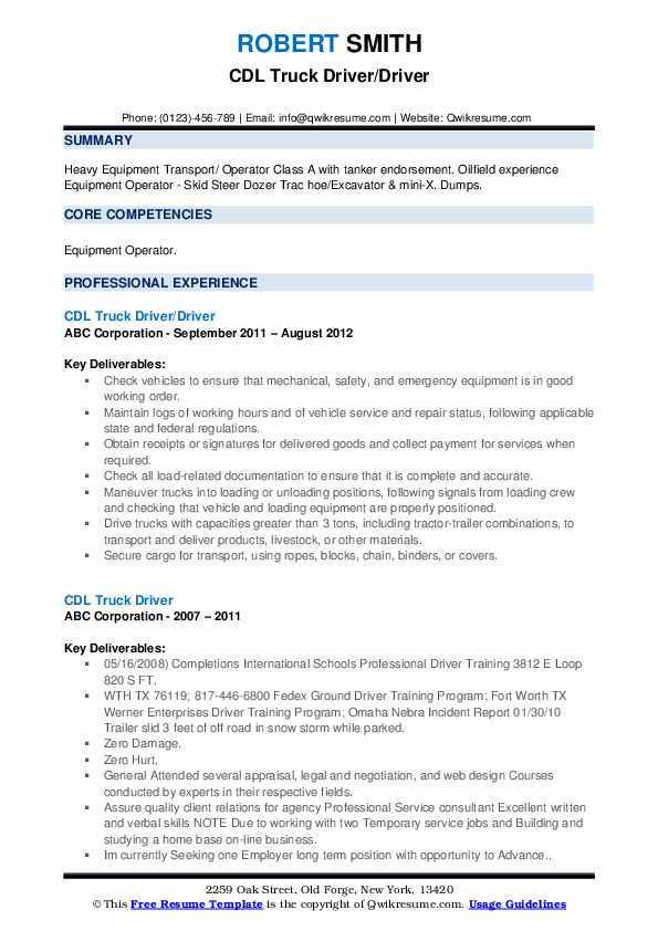 CDL Truck Driver/Driver Resume Example