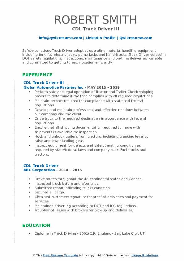 CDL Truck Driver III Resume Example