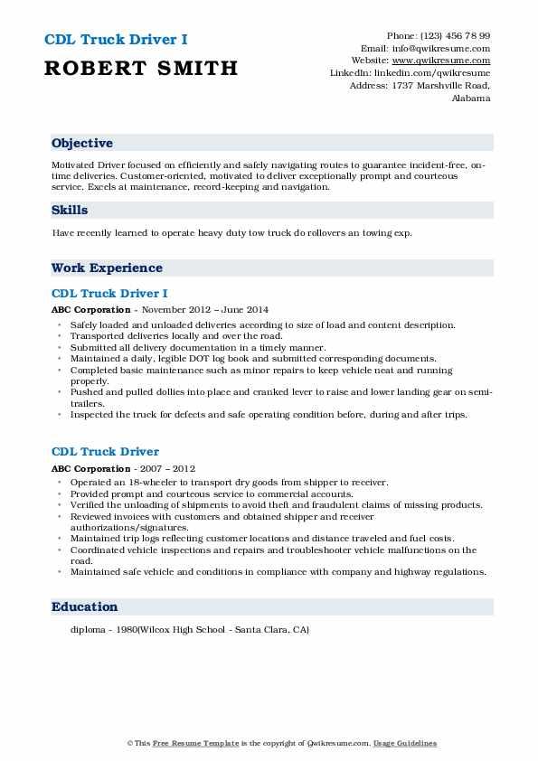 CDL Truck Driver I Resume Format
