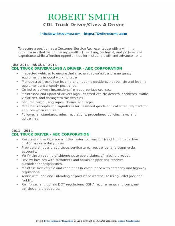 CDL Truck Driver/Class A Driver Resume Sample