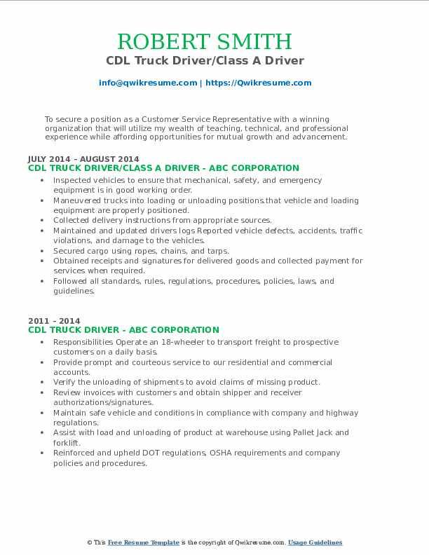 cdl-truck-driver-1568788115-pdf Basic Mechanical Diploma Resume Format on