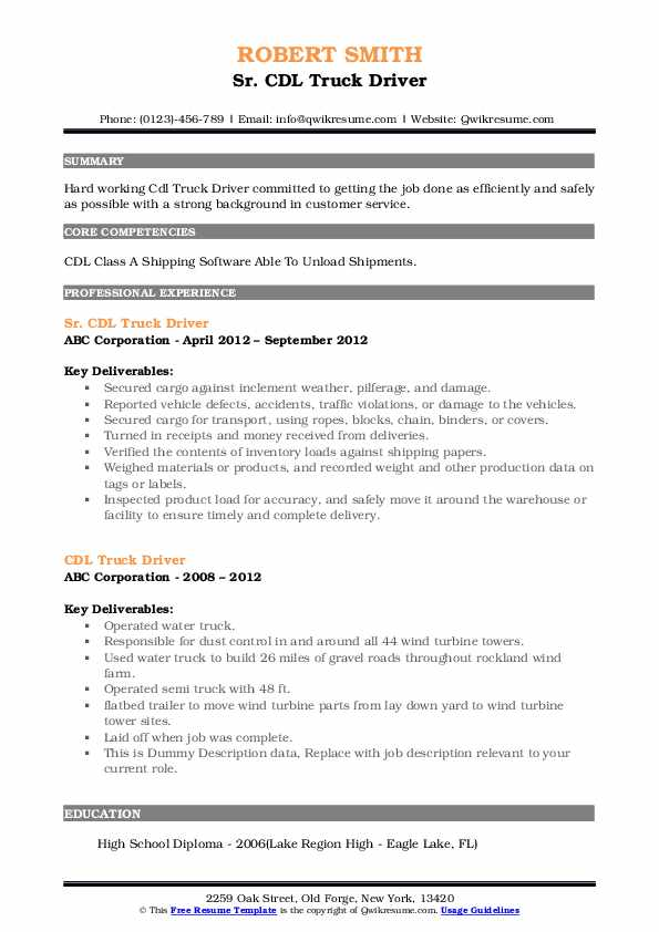 Sr. CDL Truck Driver Resume Example