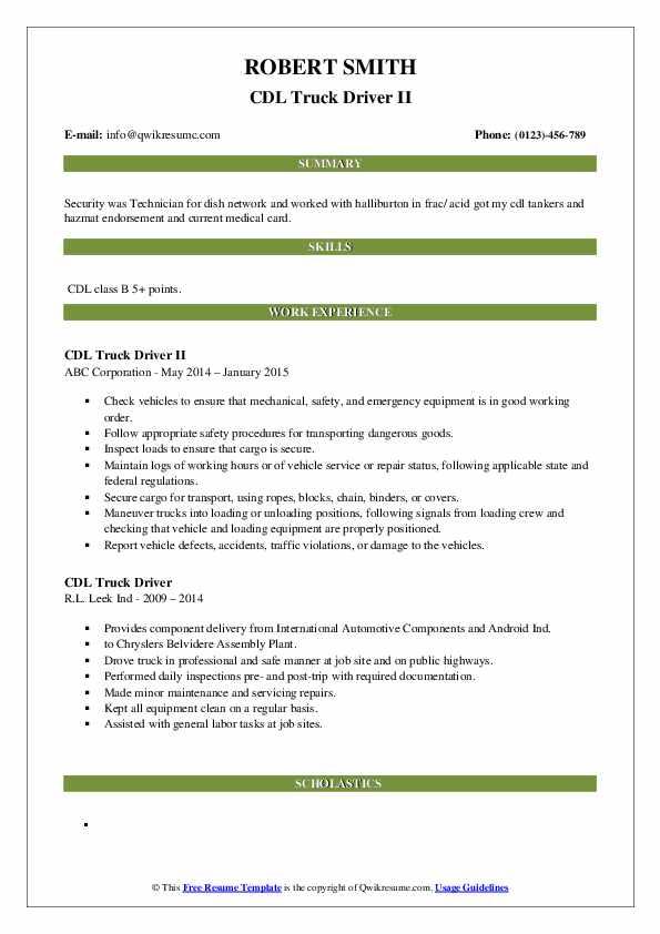 Jr. Water Truck Driver Resume Format