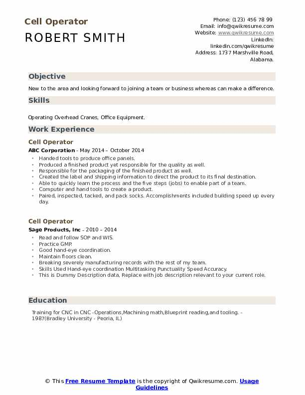 Cell Operator Resume example