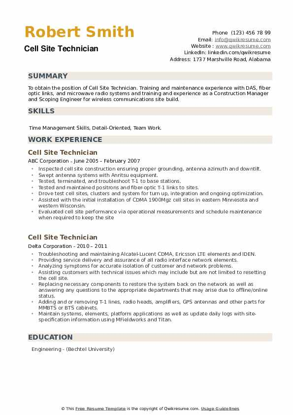 Cell Site Technician Resume example