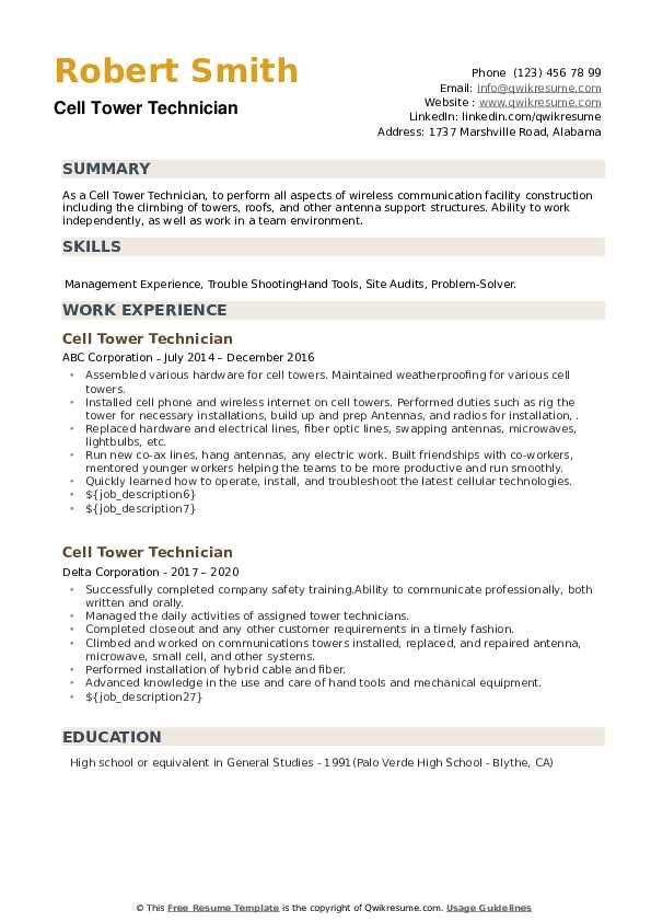 Cell Tower Technician Resume example