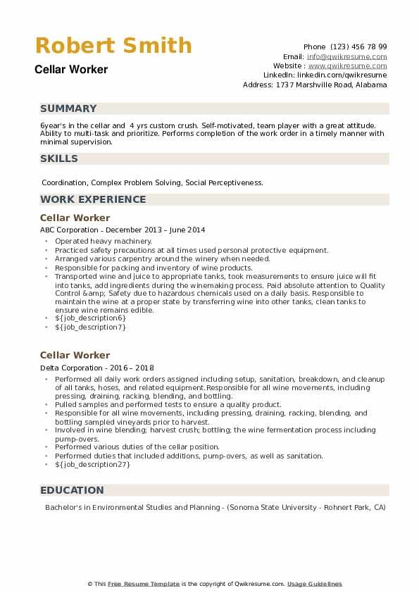 Cellar Worker Resume example