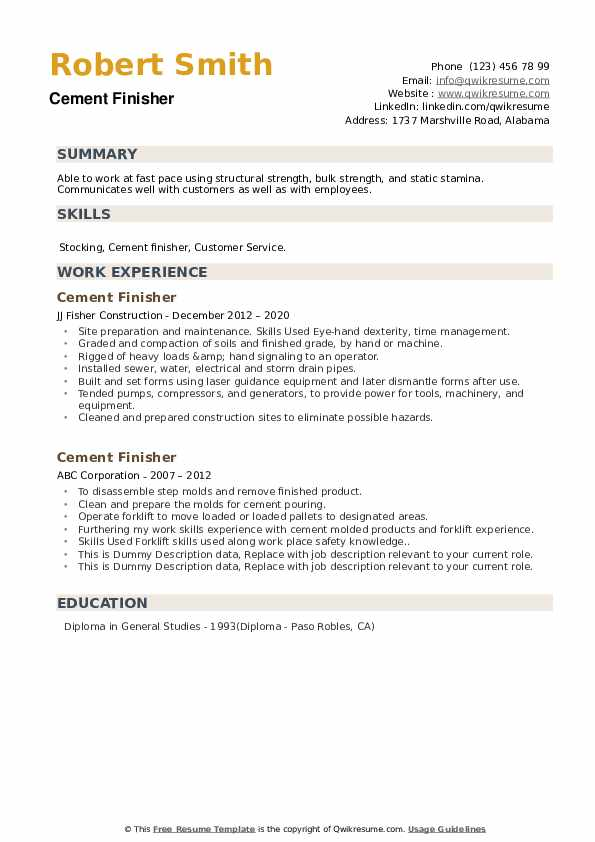 Cement Finisher Resume example